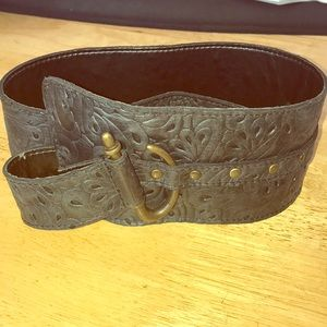 Bali Vintage charcoal leather belt with fillagre m
